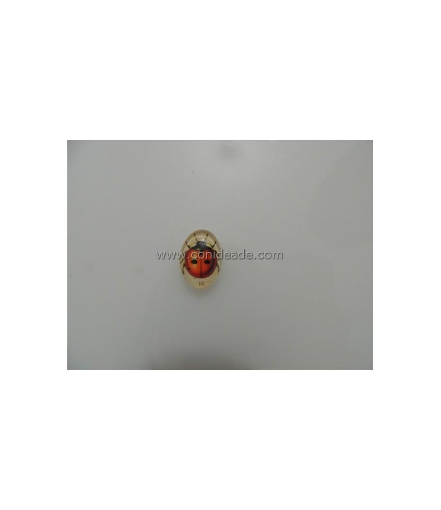 Cabuchon cristal mariquita 18x13mm