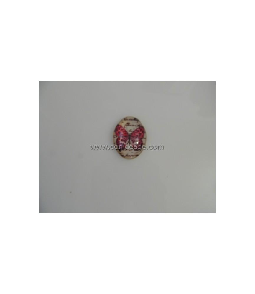 Cabuchon cristal mariposa rosa con puntos 40x30mm