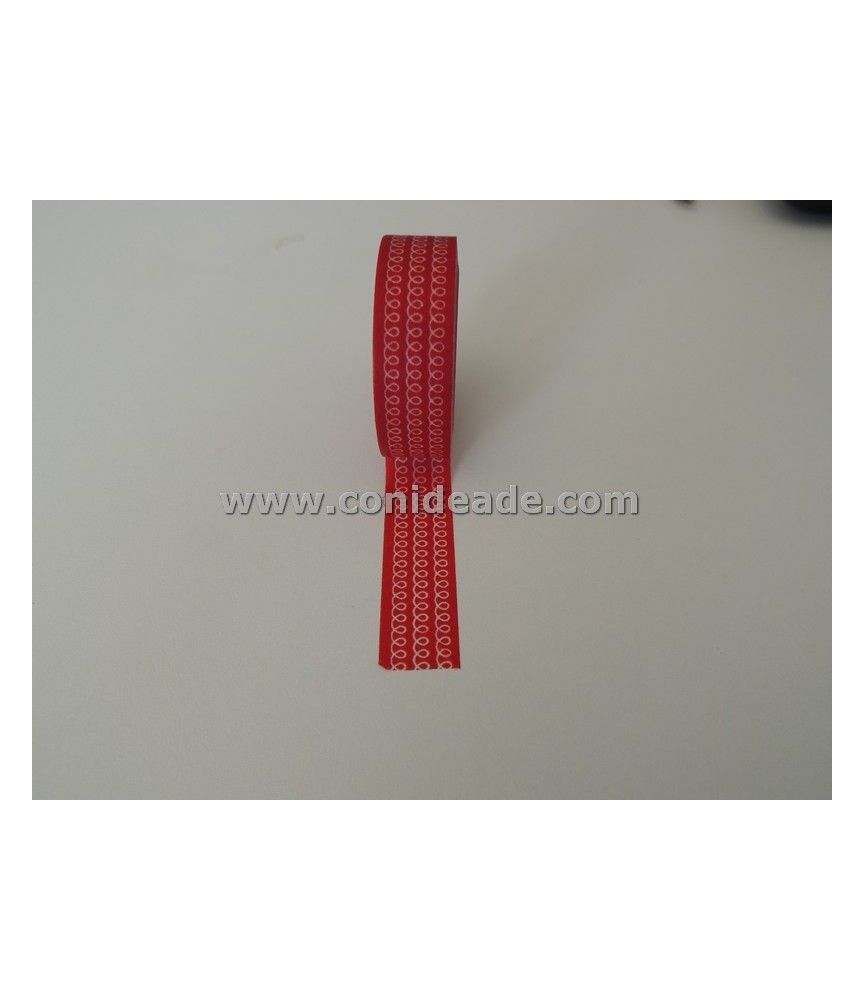 1 rollo washi tape granate con cadeneta blanco