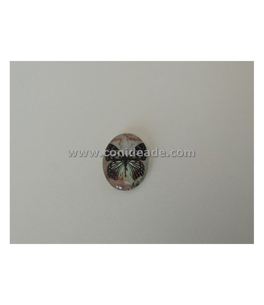 Cabuchon cristal mariposa negra 18x13mm