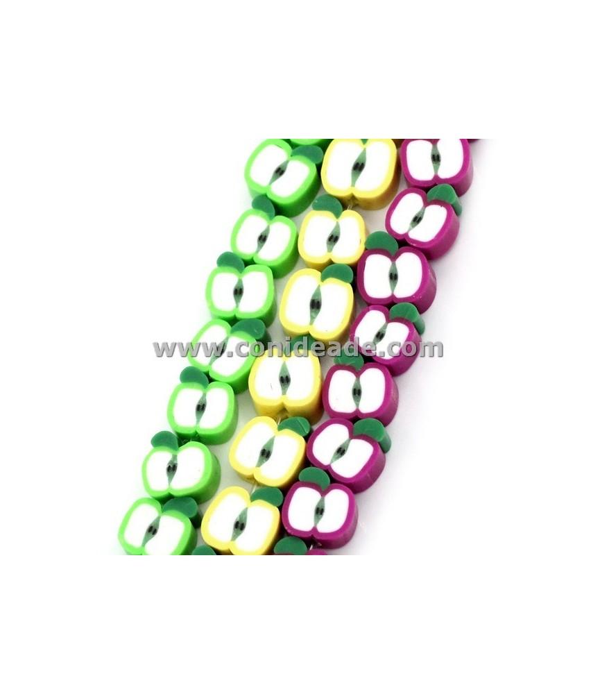"""Cuentas de resina """"manzanas"""" 3 colores"""