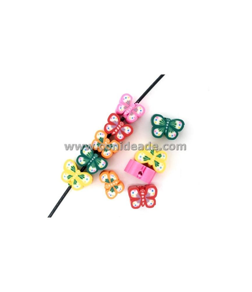 Cuenta de resina mariposa multicolor