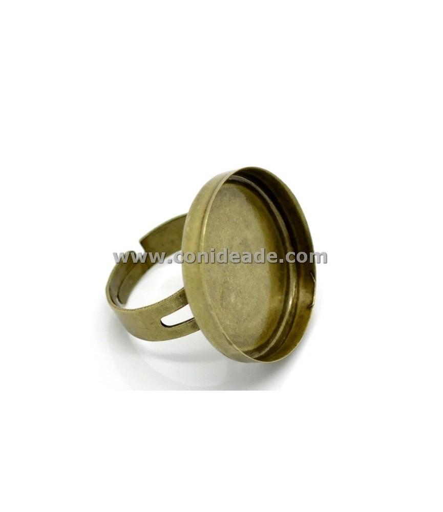 Anillo ajustable oro viejo con base para camafeo de 25 mm