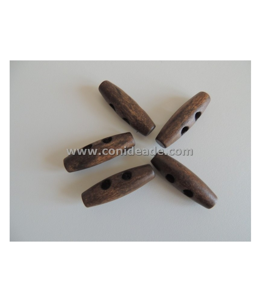 Pack 5 Botones de madera alargado marron