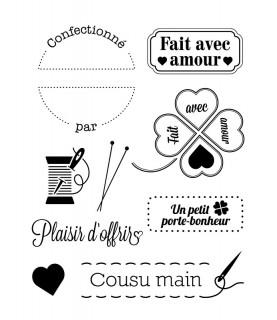 Pack 9 mini sellos transparentes Avec amour
