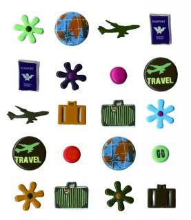 Pack de 20 brads Travel con motivos de viajes para scrapbooking