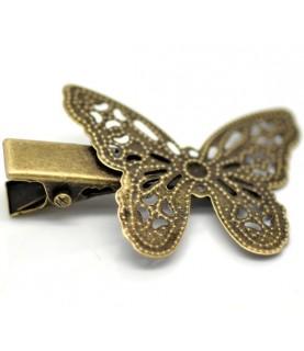 Horquilla de pinza vintage bronce mariposa