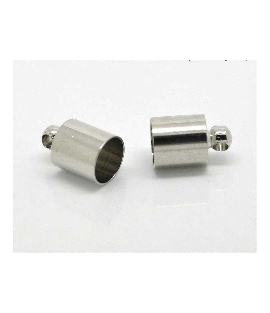 Pack 10 terminales para cordon 6mm plateado
