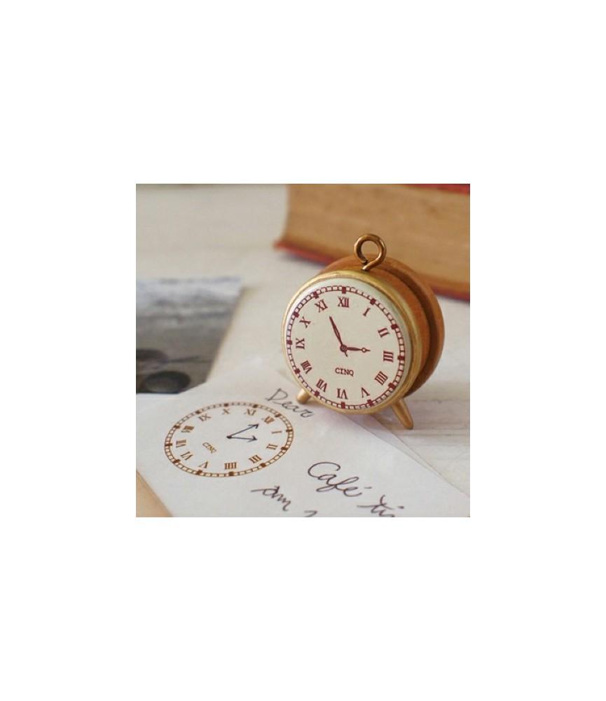 Sello reloj de madera