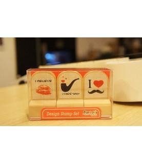 Set de 3 sellos madera I miss you