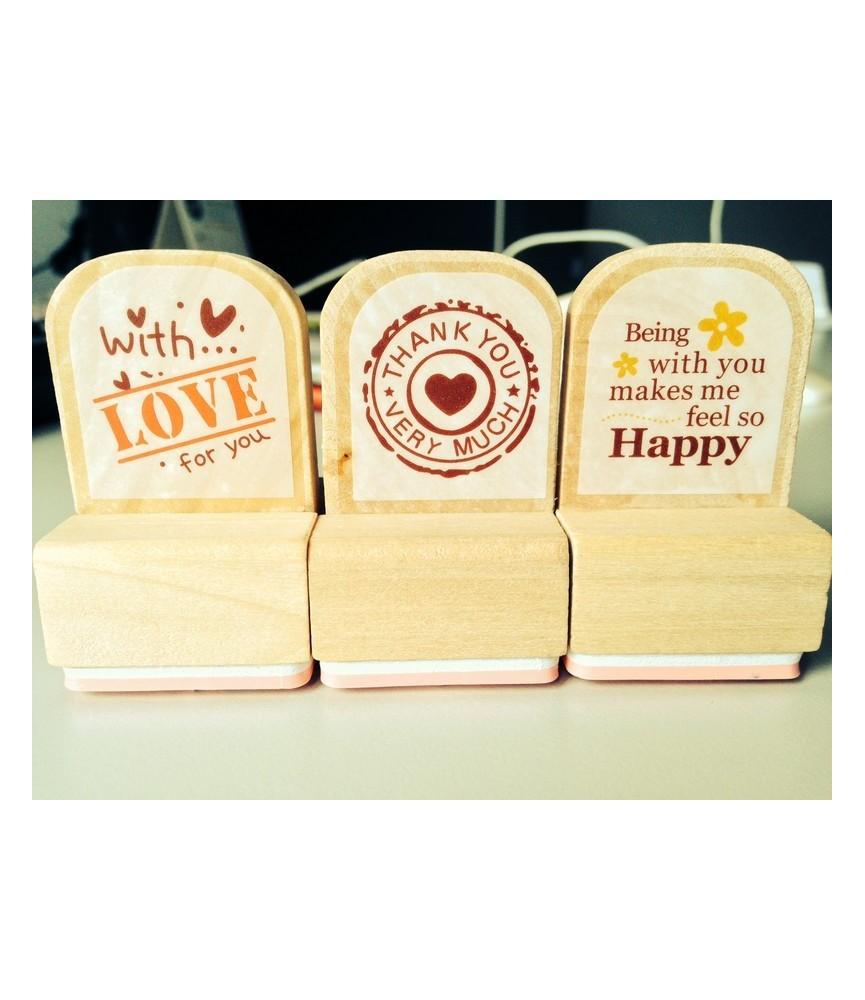 Set de 3 sellos madera Happy