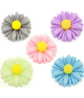 Pack de 5 flores de resina margarita 13x13mm
