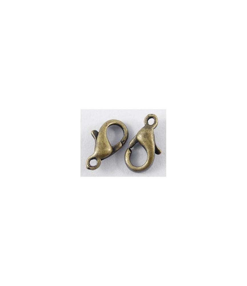 Pack de 10 cierres de mosquetón 6x10mm en bronce