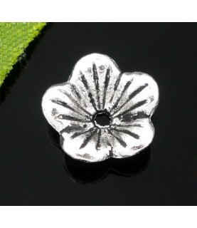 Pack 10 casquillas de flor plateada 10 mm