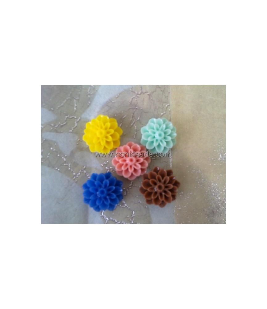 Pack de 5 flores de resina colores 16x8mm