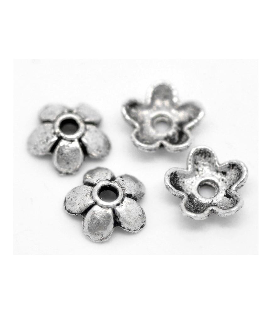 Pack de 20 casquillas de flor plateada 6,5 mm