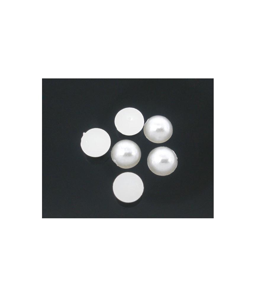 Pack de 50 perlas con base plana blanca
