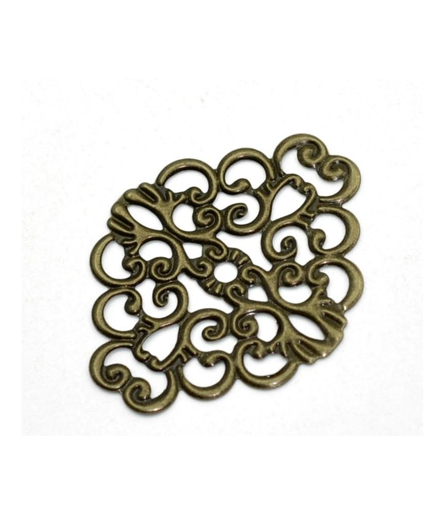Base de filigrana o conector en bronce ovalado