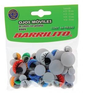 Pack 66 ojos móviles con pestañas de colores