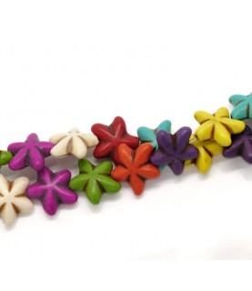 Pack 5 Cuentas de piedra flores 19x17 mm