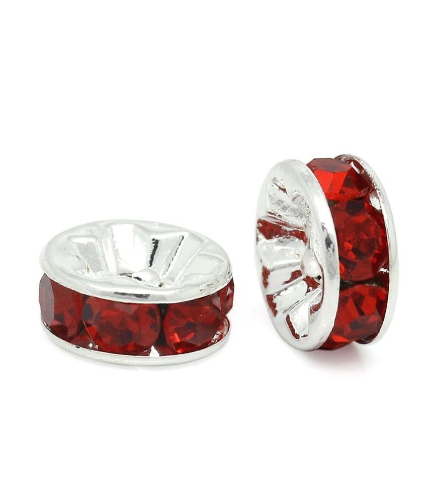 Rocalla plateada con las piedras en rojo