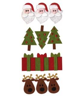 Pack 12 figuras de fieltro precosido navidad