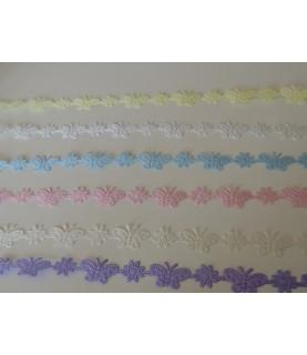 1 metro de cinta fantasía Mariposas y margaritas