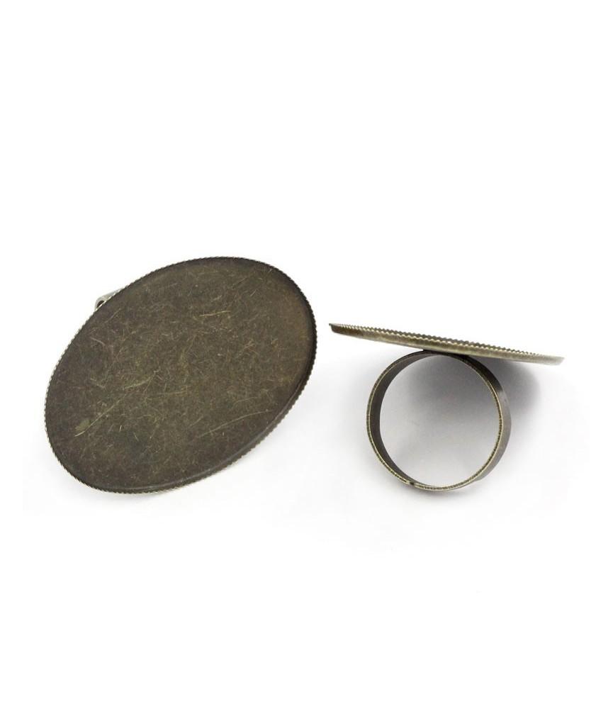 Anillo ajustable base ovalada 40x30mm