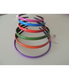 Diademas de plastico dentadas 1cm colores