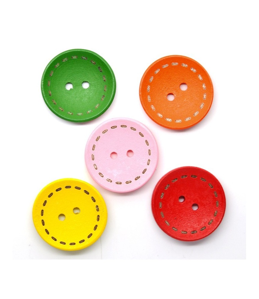 Pack 5 Botones de madera pespunte