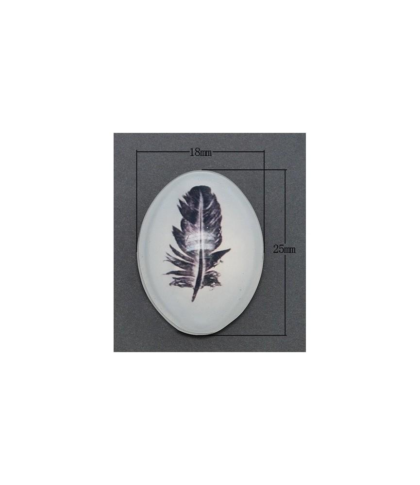 Cabuchón cristal pluma 25x18 mm