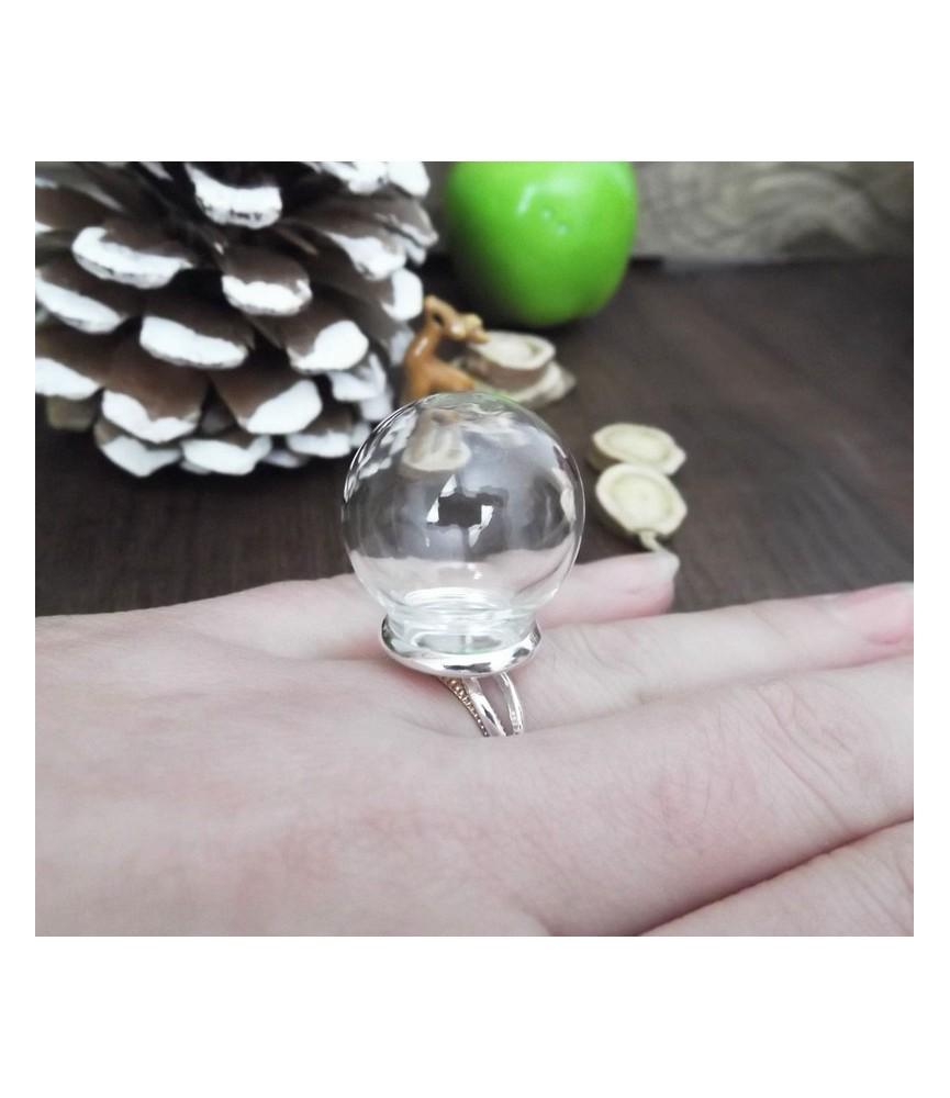 Set anillo con esfera de cristal 12 mm