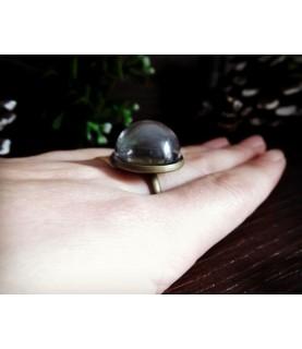 Set anillo bronce con media esfera de cristal 20 mm