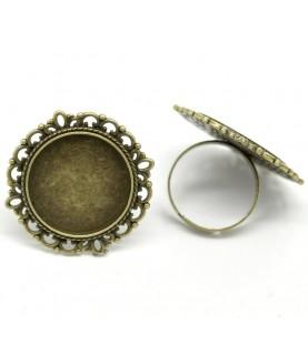 Anillo ajustable base camafeo 20 mm bronce
