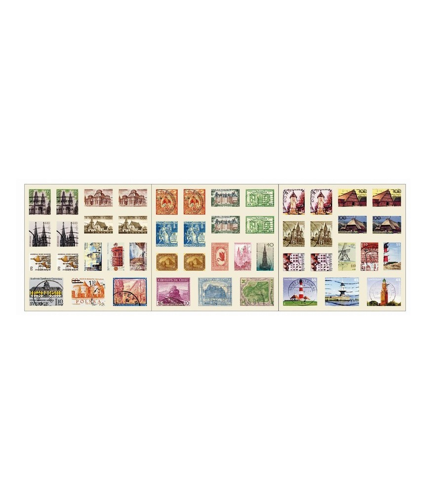 Pack 6 hojas de sellos adhesivos monumentos