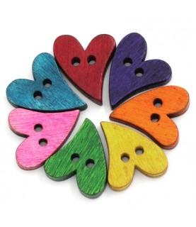 Pack 7 Botones de madera corazon alargado colores