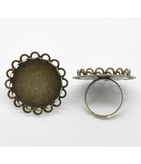 Anillo ajustable bronce con filigrana base de 25 mm