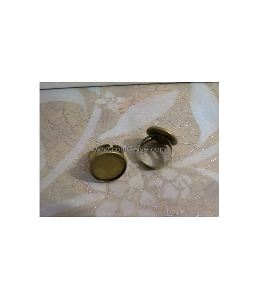 Anillo ajustable plata con base para camafeo de 25 mm