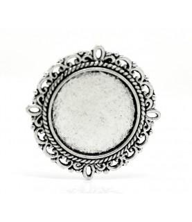Base de camafeo de 20 mm plata vieja