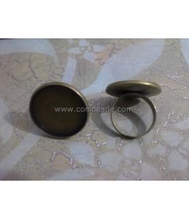 Anillo ajustable bronce con base para camafeo de 23 mm