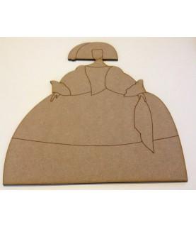 Silueta de madera menina pañuelo