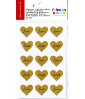Pack de 60 pegatinas corazones love