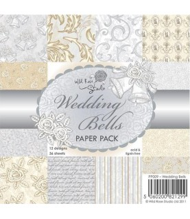 """Pack 36 hojas de 6x6"""" Wedding Bells"""