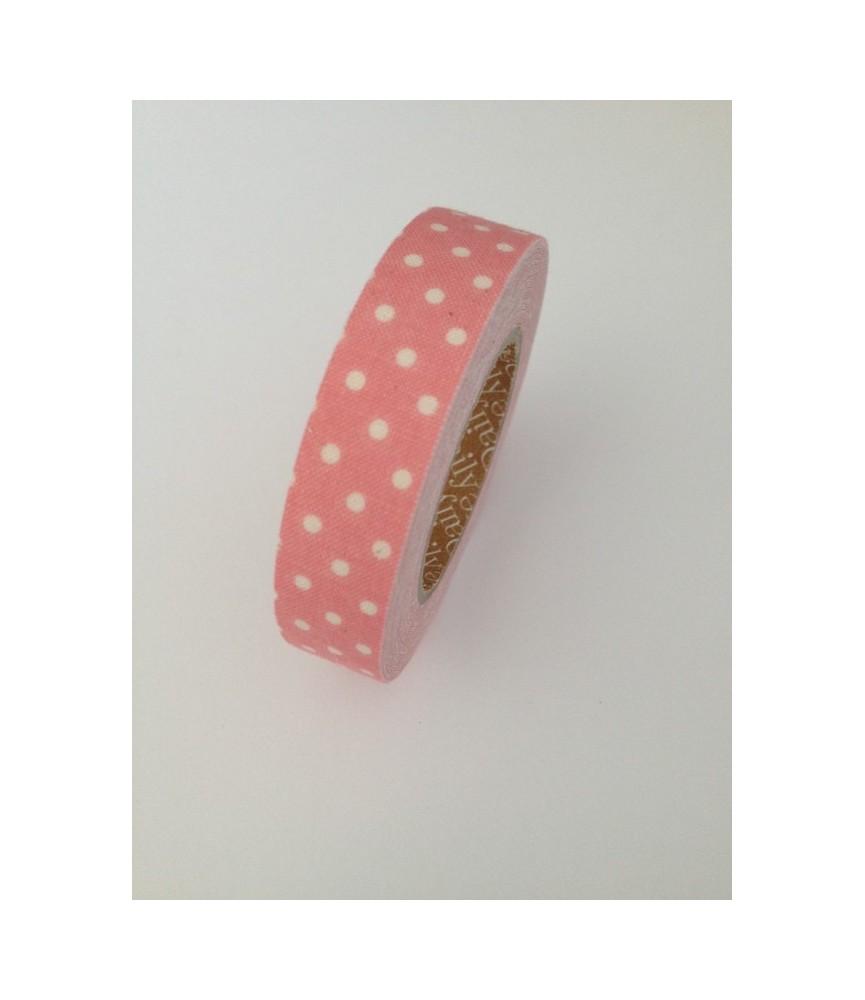 Rollo de Fabric tape topos rosa