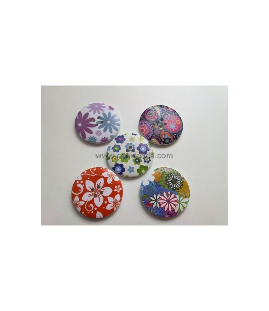 Pack 5 botones florales grandes