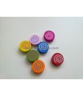 Cuentas de espirales de madera multicolor 16x16mm