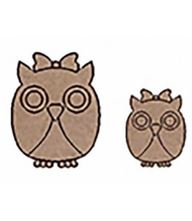 Set de silueta de madera 2 buhos chica