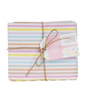 Pack 5 fat quarters Spots&stripes Pastels