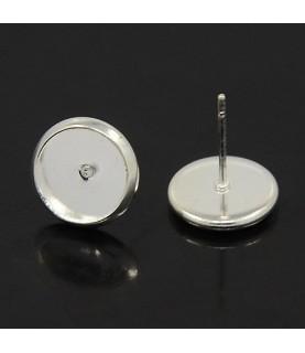 5 par de pendientes plateados de 10 mm