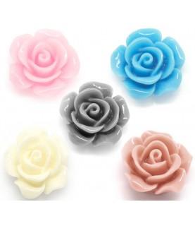 Pack de 5 rosas de resina de 14x14mm 5 colores
